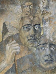 Five heads. 1929-1930. P.,watercolors, 35.5x26.5.