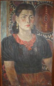 Portrait of singer U.Turdukulova. 1946-1947. Oil, canvas.