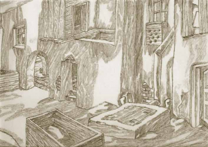 Yard. 1940's. P., graphite pencil.