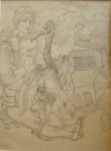 Illustration for Hauf. 1942. P., graphite pencil. 27x20.