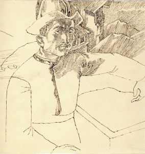 Kyrgyz Man. 1940's. P., ink, pen.