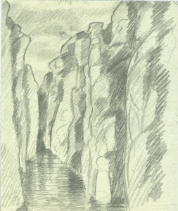 Deep canyon. 1927, beginning of scarlet fever. Paper, pencil. 23x19.