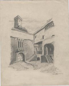 Italian palace. 1927. Paper, pencil. 22x18.