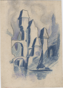Fairytale castle. 1927. Paper, color pencil. 19х14.