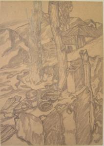Alma-Ata, Fortress. 1943. P., graphite pencil. 22x15.