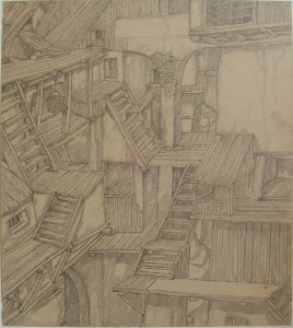 Stairs. II. 1943. P., graphite pencil, ink. 22,3x20.