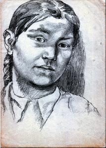 Portrait of Uriah Turdukulova's daughter. 1943. P., graphite pencil. 30x21.