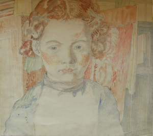 Portrait of a daughter. 1943. P., graphite pencil, watercolor. 27,5x30,8.