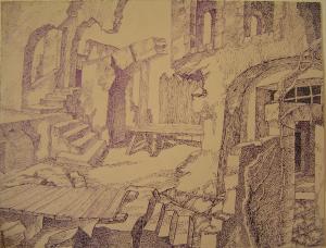 Ruins. 1943. P., ink. 19x25.