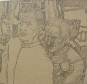 Attention. V. 1943. P., graphite pencil. 15x16.