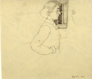"""The Girl by the Window - the turn of """"City"""". 1945. P., graphite pencil. 22x25."""