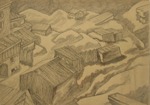 Houses and Sheds. 1945. P., graphite pencil. 22x32.