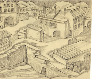 City. 1945. P., graphite pencil. 22x25.