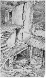 Old Walls. 1945. P., ink, pen. 37x22.