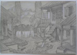 Alma-Ata. 1946. P., graphite pencil. 21x31.