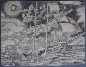 A Little Boat. Arrival. 1946. P., ink, pen. 22x28.5.
