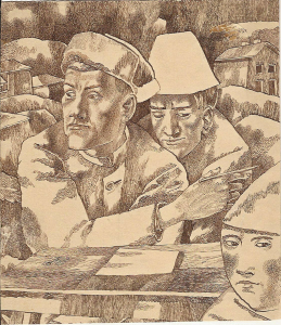 A Letter. 1946. P., ink, pen. 19x22. Collection of N. Turdukulov.