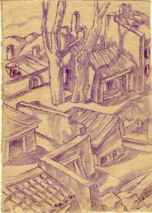 Empty Settlement. 1946. P., crayon. 15x10.5.
