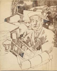 Conversation. 1946. P., ink. 25.5 x 20.5.