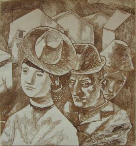 Rivals. 1946. P., indian ink. pen. 23x21.