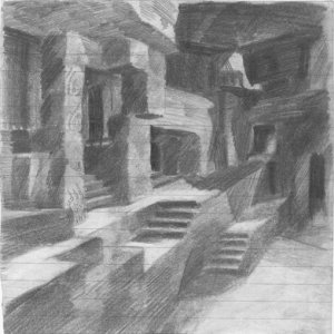 Passages. 1928. Paper, pencil. 17x17.
