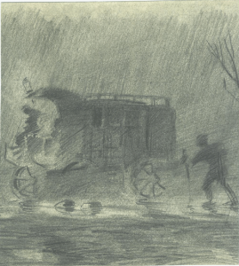 Stagecoach in the rain. 1928. Paper, pencil. 19x17.