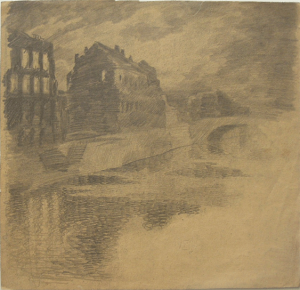 Fontanka. 1928. Paper, pencil. 24х26.