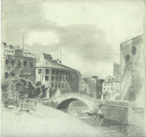 Arched bridge. 1928. Paper, pencil. 22x23.