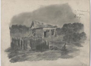From the memoirs. Luga, evening. 1928. Paper, pencil. 22х29.