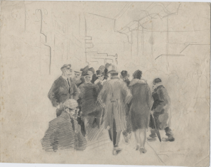 Croud. 1928. Paper, pencil. 18х23.