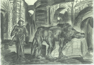 Pharaoh's beast. 1928. Paper, pencil. 15х22.