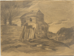 Abandonned house. 1928. Paper, pencil. 26х35.