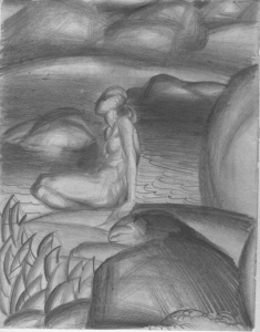 Bather. 1929. P., pencil. 23х18.