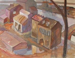 City, Embankment. 1950-1955. P., graphite pencil, gouache. 25x32.