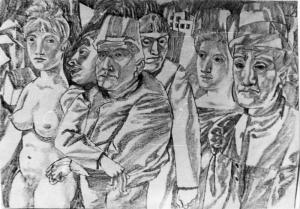 Ночные прогулки. 1951. Б., графитный карандаш. 29х40,3.