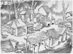 Celebration. 1951. P., ink, pen. 23x31.