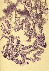Ruins and Trees. 1951. P., ink. 29x20.