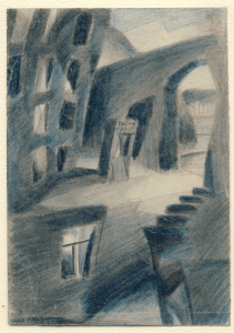 Alleyway. 1929. P., pencil, color pencil.