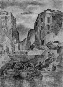 Quayside on Obvodniy. 1929. P., pencil. 34х25.
