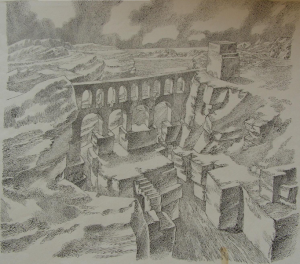 Fortress by the Gulf. 1954. P., ink, pen. 41x29.5.