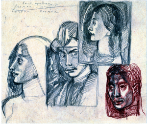 Heads (turn of Female and Horse Heads). 1950's. P., graphite pencil, crayon. 18x21.