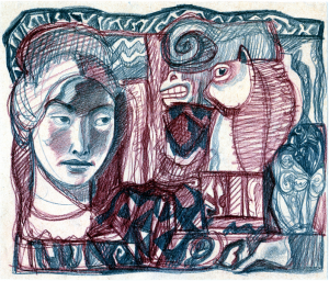 Female and Horse Heads. 1950's. P., graphite pencil, crayon. 18x21.