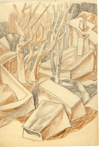 Cemetery. 1950's. P., crayon, graphite pencil. On the back - a woman's face on the background of the Kazakh ornament and stones. 14,5x21.