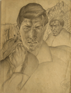 Self-portrait. 1929. P., pencil. 25x28.