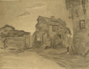 Village. 1929. P., pencil. 25x32.