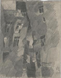 Apartment houses. 1929. P., pencil. 23х18.