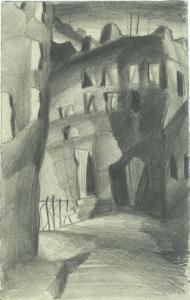 Houses. 1929. P., pencil. 24x22.