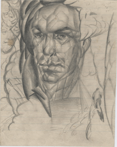 Man's portrait. 1929. Paper, pencil. 20x16.