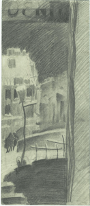 Beer (view from beerhouse). 1929. Paper, pencil. 21х10.