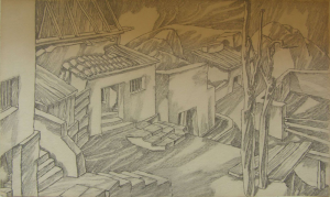 Street is on the Outskirts. 1957. P., pencil. 24x41.